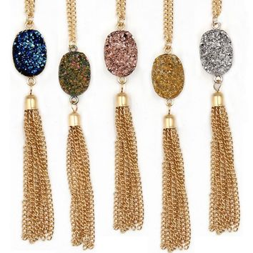 2017 New Arrival Oval Resin Druzy Looking Cute Long Chain Quart Oval Tassel Necklaces Pendants for Women