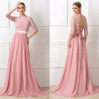 Chiffon Modest Lace Peach Long Half Sleeve african bridesmaids Dresses For Bridesmaid Dresses with Sleeves vestido madrinha