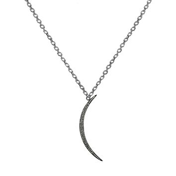 2.61ct Pavé Round Diamonds in 925 Sterling Silver Crescent Moon Charm Necklace