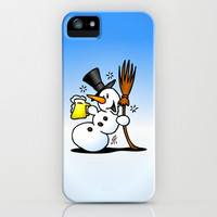 Snowman drinking a beer iPhone & iPod Case by Cardvibes