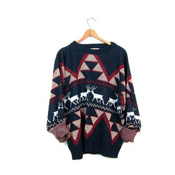 Reindeer Sweater Hipster Christmas DEER 80s Vintage Animal Boho Slouchy Ski Pullover 1980s Knit Nordic Bohemian Navy Blue Red Nerd Large XL
