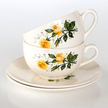 Vintage Teacups & Saucers USA Pottery Yellow Roses 1940s 1950s Set of 2