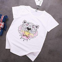 KENZO Fashion Women Men Casual Tiger Head Print T-Shirt Top White