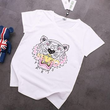 KENZO Summer Trending Women Men Tiger Head Print Round Collar T-Shirt Top White