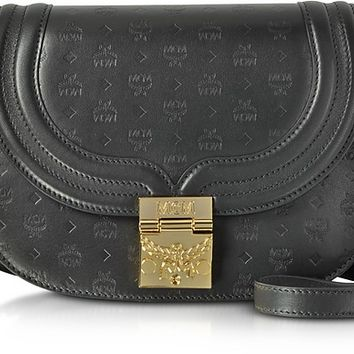 MCM Trisha Black Monogrammed Leather Small Shoulder Bag