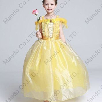 CREY6F Kids Fair BELLA Girls Christmas Costumes Long Dresses Beauty and The Beast Cosplay Clothing Children Princess Belle dresses