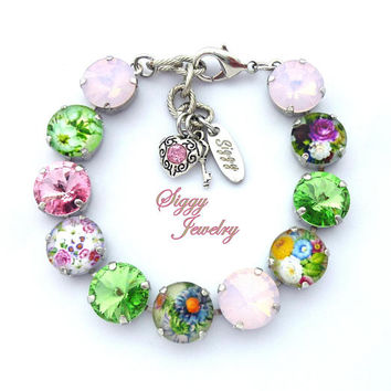 Swarovski® Crystal Bracelet, 12mm Pink, Green, Pastel, Flower Embellished, Heart And Key Charms, Rhodium Finish, Everlasting Blooms