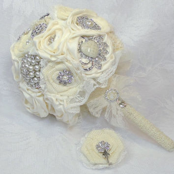 Large Ivory Burlap and Lace Brooch Bouquet and Boutonniere Key to My Heart Set Satin, Burlap, Sola and Lace Flowers Vintage, Shabby, Rustic