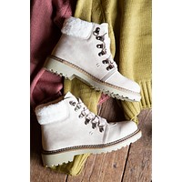Casbah Shearling Lace Up Bootie, Cream   Dirty Laundry
