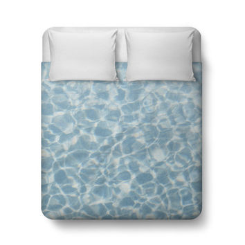 Blue Crystal Waters - Duvet Cover, Beach Style Home Decor Bedding, Coastal Nautical Bedroom Bed Blanket Throw Accent. Twin Full Queen King