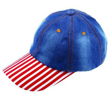 CRUOXIBB Fashion Spring Summer Hats For Women And Men Vintage Solid Cowboy Women Baseball Cap Casual Red stripe hat 2017 new