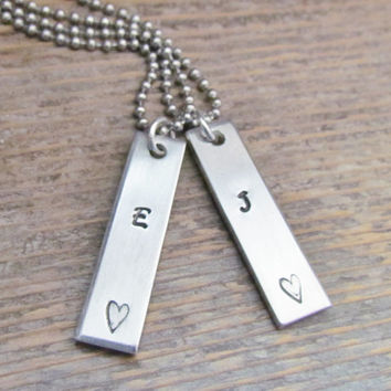 His and Hers Set of 2 Necklaces Initial Hand Stamped Jewelry Unisex Couples Charm Aluminum Tag Stainless Steel Chain