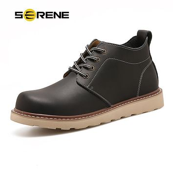 SERENE 2017 New Arrival Mens Shoes Leather Tooling Shoes Men Casual Waterproof 3 Colors Shoes Ankle Quality Boots Chukka DP-668