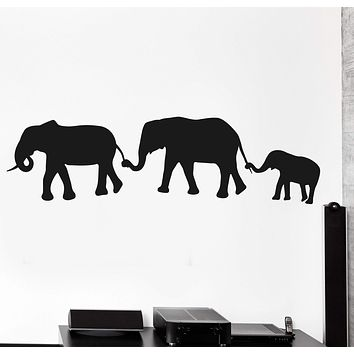 Wall Vinyl Decal Elephant Happy Family Animals Jungle Home Interior Decor Unique Gift z4076
