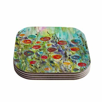 "Rosie Brown ""Klimt Inspired"" Multicolor Floral Nature Painting Coasters (Set of 4)"