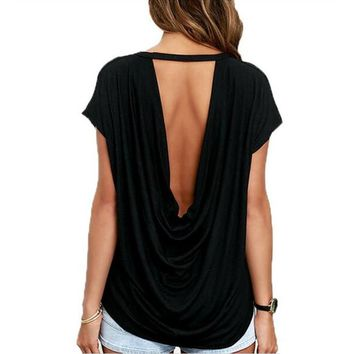 Yomay Open Back Casual short Sleeve T Shirt Summer Style Women Clothing Casual Backless O-neck Tops Tees