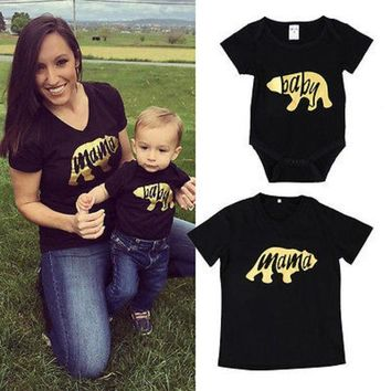 2017 Brand Black Summer Bear Newborn Infant Baby Boys Adult Mama Family Matching Set Romper T Shirt Tops Outfits Clothes