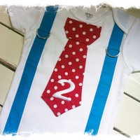 BOYS 2nd BIRTHDAY Outfit,Dr. Suess Tie with Turquoise Suspenders,Cake Smash,Red Tie,Birthday Boy,Cat n The Hat,Boys Second Birthday Bodysuit
