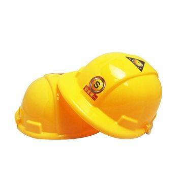1pc Simulation Safety Helmet Pretend Role Play Hat Toy Construction Creative Kids Children Gift Funny Gadgets Yellow