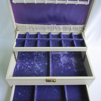 MELE Vintage Faux Jewelry Box Automatic Slide Drawer Crushed Purple Velvet Lining