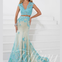 V-neck Beaded Lace Trumpet Prom Dress Tiffany Designs 16103