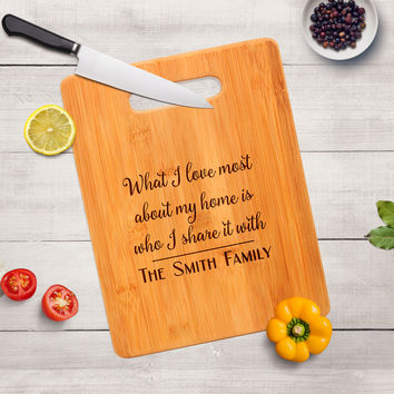 Bamboo Cutting Board - Family Personalized Cutting Board