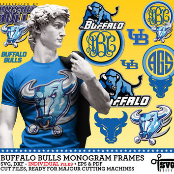 Buffalo Bulls Monogram Frames. Vector Digital Cut Files. SVG, dxf, eps, pdf for Silhouette, Cricut, SCAL yeti vinyl Die Cutting CF-45