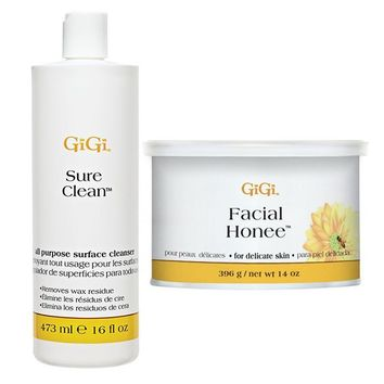 GiGi Sure Clean All Purpose Surface Cleanser 16 oz + Facial Honee Wax 14 oz