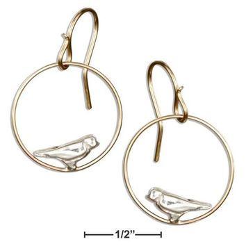 Sterling Silver Earrings:  And 12 Karat Gold Filled Dangling Circle With Bird Earrings