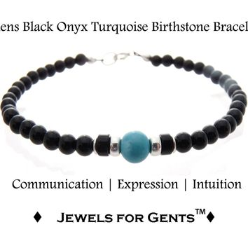 Mens Turquoise Bracelet, Black Onyx December Birthstone Bracelet | Mens Zodiac Power Stones Bracelet | Jewels for Gents