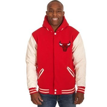 Chicago Bulls Fleece/Faux Leather Hoodie Jacket - Red