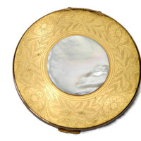 Elgin American Powder Compact Etched with Mother of Pearl Disc