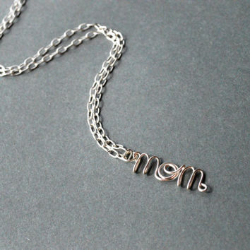 Mom Necklace Silver Wire Jewelry Mother Gifts