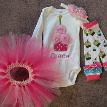 GIRLS Pink Polka Dot Chiffon Shabby Rose Personalized Birthday Flower Cupcake Candle Baby Onesuit Toddler 1st First Party Outfit Set/tutu