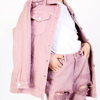 Distressed Pink Girlfriend Fit Jeans