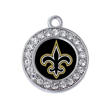 New fashion simple football jewelry accessories new orleans saints logo sticker silver metal pendant