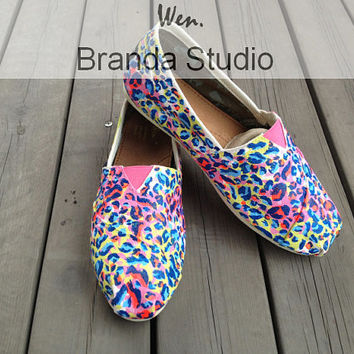 Christmas Gifts- New Original Design Leopard Print Studio Hand Painted Shoes Leopard Print Shoes,Fashion100% Hand Painting-Wen-Flat Shoes