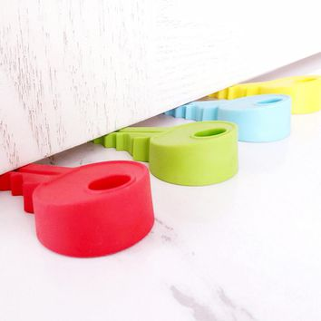 1pcs Creative Cute Key Shaped Silicone Door Stopper Holder Children Kids Safety Guard Home Decor Finger Protector