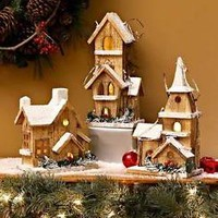 Lighted Wood Winter House Display Art Christmas Holiday Table Mantel  Home Decor