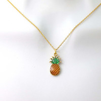 Pineapple, Fruit, Gold, Necklace, Lovers, Best friends, Mom, Sister, Gift, Accessory, Jewelry