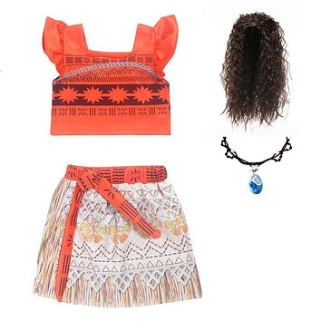 Kids Girl Princess Party Dress Moana Adventure Elsa Clothing Girls Dress Set with wig and Necklace baby Vaiana Cosplay Clothes