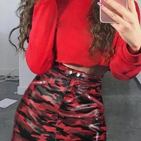 Red Camo Print Buttons Zipper Pockets PU-Leather High Waisted Cargo Casual Skirt