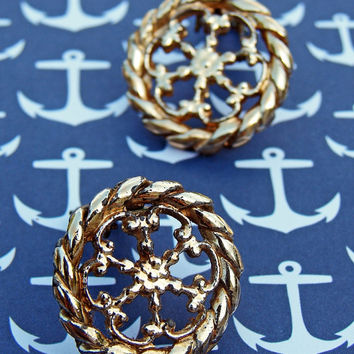 Amazing Vintage Gold Clip-on Earrings Metal Fabulous Accessory Jewelry Gift for Her Summer Spring Flower Nautical Rope Modern
