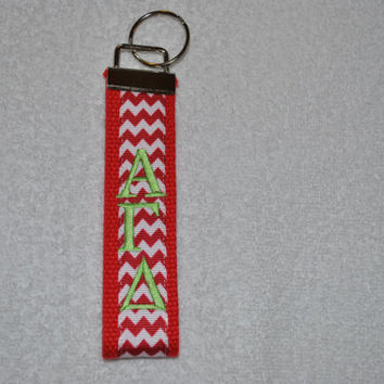 Alpha Gamma Delta Sorority (OFFICIAL LICENSED PRODUCT) Monogrammed/Embroidery Key Fob Keychain Cotton Webbing Ribbon Wristlet