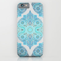 Through Ocean & Sky - turquoise & blue Moroccan pattern iPhone & iPod Case by Micklyn