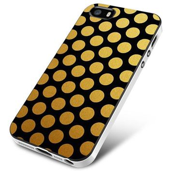 Black And Gold Color Block Polkadot iPhone 5 | 5S | 5SE Case Planetscase.com