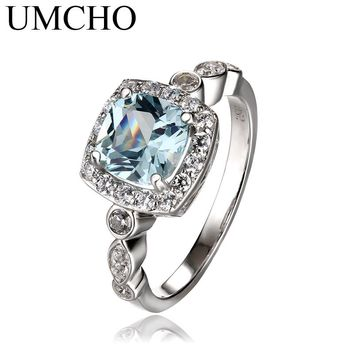 UMCHO  Real S925 Sterling Silver Rings for Women Blue Topaz Gemstone Aquamarine Cushion  Romantic Gift Engagement Jewelry