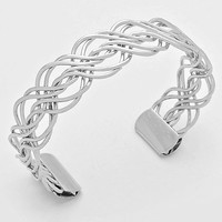 Silver Twisted Braided Wire Cuff Bracelet