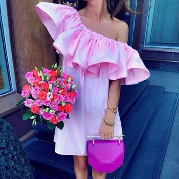 Sexy Women Pleated Off Shoulder Boho Ruffle Sleeve Solid Mini Dress Tunic Beach Dress Party Evening Clubwear