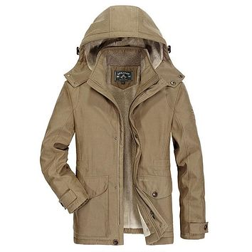 Winter Down Jackets Coat Thick Casual Long Men's Cotton Padded Jacket Plus Size